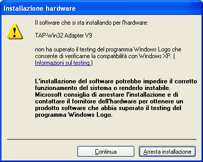 Uno degli warning dementi di Windows