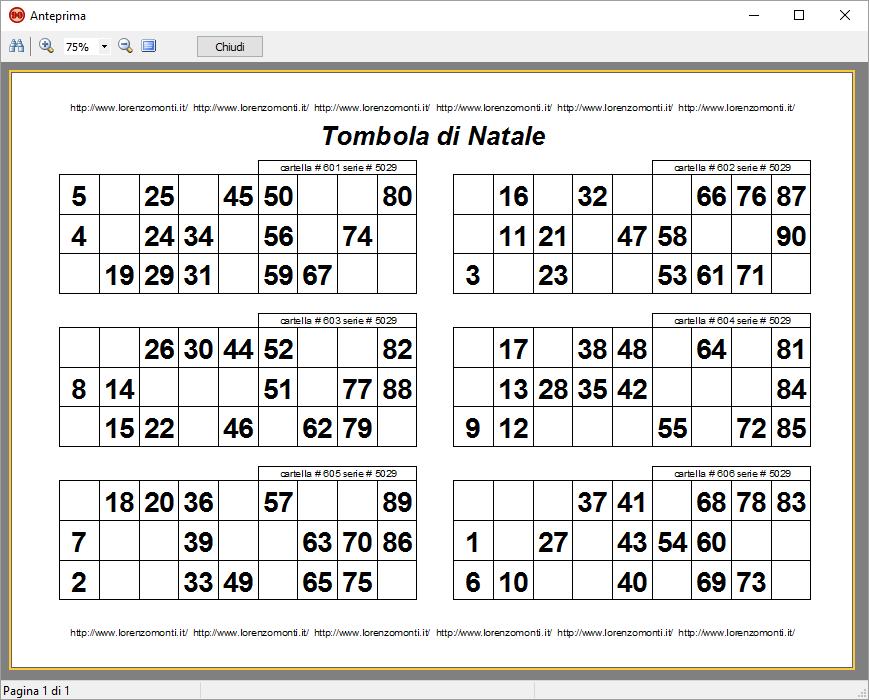 Stampa tombola lorenzo monti for Tabellone tombola napoletana da stampare